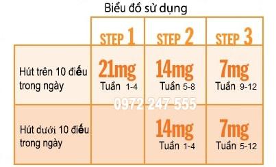 Biểu đồ dùng miếng dán Nicotinell